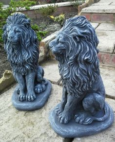 garden stone  two #proud #lions #concrete garden ornament,  View more on the LINK: 	http://www.zeppy.io/product/gb/2/201441197637/