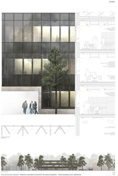 Result: University of Erlangen-Nuremberg - new building F . Plans Architecture, Architecture Drawings, Architecture Details, Architecture Visualization, 3d Max Vray, Planer Layout, Architecture Presentation Board, Architectural Section, Urban Furniture