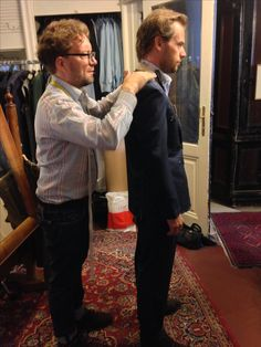 Magnin is being fitted for his wedding suit. A lovely navy nailhead from Loro Piana. Tailoring Techniques, Wedding Suits, Navy, Couple Photos, Store, Couples, Fitness, Hale Navy, Couple Shots