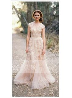 USD$236.85 - Champagne Elegant Appliques A Line Wedding Dresses 2015 With Sweep Train And Cap Sleeve - www.27Dress.com