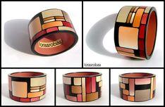 70′s wallpaper bangle, polymer clay