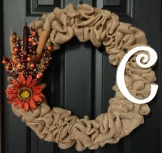 Fall Letter Personalized Holiday Burlap Wreath You by WreathsUrWay, $33.00