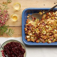 A blend of whole grain and country breads gives this stuffing just the right deep, earthy flavor, while cider and vinegar-spiked golden raisins lend a few high notes. And the bacon? That's what makes it irresistible.