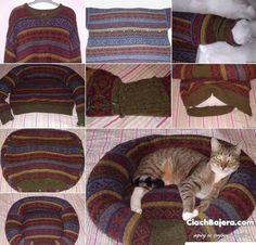 f989e29f968774 legowisko dla kota ze starego swetra Zwierzęta Domowe, Strój, Kotki,  Legowiska Dla Zwierząt