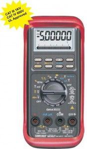 KM 859-HIGH SAFETY DIGITAL MULTIMETERS UL APPROVED • DC Voltage Basic Accuracy 0.02% • Fully Autoranging • Backlighted display. • T1-T2 differential Temperature readings. • Fast Data Measurement 5/sec • Data Hold, Diode Test & Duty Cycle • Audible & Visible input warning. • Auto Power Off