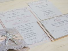 SANDY: Customizable Beach Pocketfold Wedding by peachykeenevents