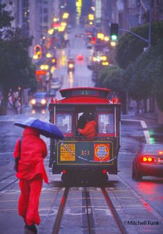 Running For A Cable Car In The Rain San Francisco By Mitchell Funk