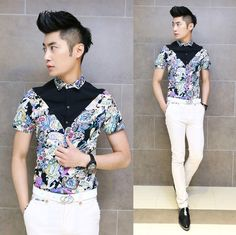 New Metrosexual Men Unique Design Floral Shirts Slim Fit Sexy Men Summer Tops Modern Dress Shirt $24.88