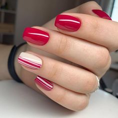 Red nails design to show your passion and enthusiasm for life! Chic Nails, Stylish Nails, Shellac Nails, Nail Manicure, Fabulous Nails, Perfect Nails, Red And White Nails, Red Nail Designs, Striped Nails