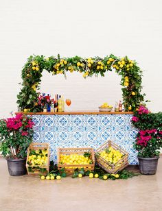 Colorful Southern Italian Wedding with DIY tile bar sticky tiles and limencello lemon floral greenery backdrop Wedding Shower Decorations, Wedding Themes, Wedding Colors, Green Wedding, Spring Wedding, Gold Wedding, Party Themes, Diy Wedding Bar, Wedding Ideas To Make