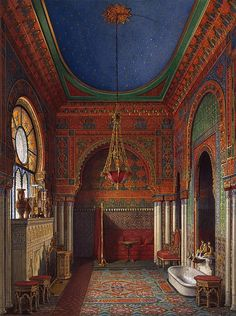 The Glory of Russian Painting: Bathroom of Empress Alexandra Feodorovna in the Winter Palace by Edward Petrovich Hau Alexandra Feodorovna, Imperial Palace, Imperial Russia, Palaces, Winter Palace, Hermitage Museum, Russian Painting, Beautiful Interiors, Ukraine
