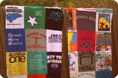 30 Squares on the front AND back tee shirt Quilt Blanket Moving Blankets, Graduation Presents, Activities For Adults, Cleaning Materials, Shirt Quilt, Tee Shirts, Tees, Quilt Making, Mother Day Gifts