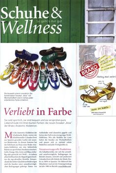 Brako in editing 01/2013 German magazineShoes & Wellness which highlights several of our models. For more info visit http://www.brako.com/reportaje-en-schuhe-wellness/?lang=en