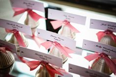 Seating Numbers/Bells - What a great idea!  What not use the bells to display seating assignments and use them to ring at the departure of the new couple!