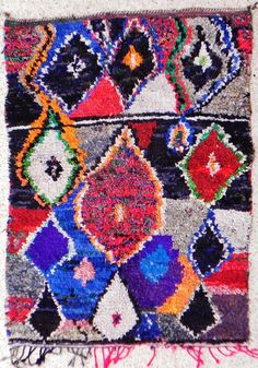 TC10622 vintage boucherouite rug moroccan rugs  by BOUCHEROUITE