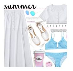 """Summer Time"" by beebeely-look ❤ liked on Polyvore featuring Sugar Milk Co, Lime Crime, Obsessive Compulsive Cosmetics, Summer, beach, ootd, whitedenim and zaful"