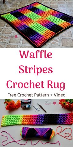 The Crochet Waffle Stripes Rug - Free pattern + video. This rug features Red Heart Super Saver Stripes worked in join as you go stripes using the waffle stitch, to create a color blocking effect.