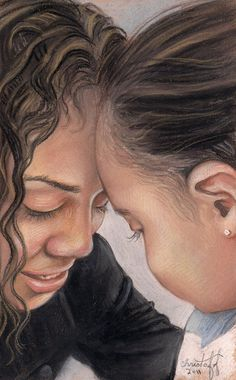 A pastel of mother and daughter