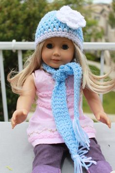 Crochet American Girl Bitty Baby 18 Inch Doll Hat by kristenud,