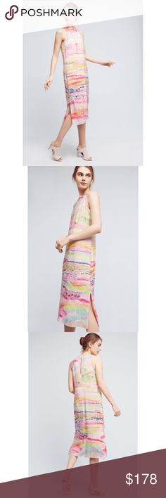 """NWT Anthropologie Painted Silk Column Dress NWT Anthropologie Painted Silk Column Dress by HD in Paris. Gorgeous dress with beautiful pastel colors. Perfectly suited for any spring or summer wardrobe.   🌸Silk; rayon lining  🌸Column silhouette  🌸Button back  🌸Hand wash  🌸Style No. 4130580815210 🌸Falls 46.5"""" from shoulder 🌸Model is 5'10"""" Anthropologie Dresses Midi"""