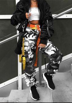 Grey Camouflage Print Pockets High Waisted Casual Camo Long Pants