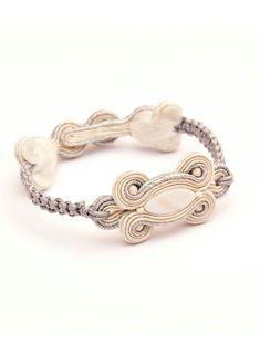 Bridal braided bracelet ivory cream silver metallic. Bohemian bracelet. Silver pearl wedding bracelet. Soutache charm makrame bracelet gift.