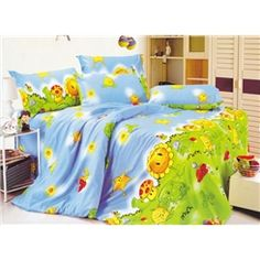 Sunny Blue 3 Piece Cotton Bedding Sets with Printing Kids Bedding Sets, Cotton Bedding Sets, Bedroom Themes, Cartoon Kids, 3 Piece, Comforters, Kids Room, Blanket, Printing