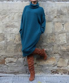 Green Wool Maxi dress Jumper by cherryblossomsdress on Etsy