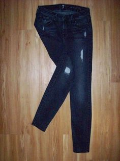 7 SEVEN FOR ALL MANKIND THE SKINNY DISTRESSED BLACK JEANS Sz27 28X28 NICE! C20 #7ForAllMankind #SlimSkinny
