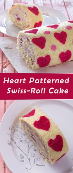Hearts Patterned Swiss-Roll Cake filled with strawberry & white chocolate mousse.