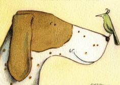 Wonderful dog :-) Limited Edition ACEO hand painted with watercolor Art And Illustration, Illustrations, Art Fantaisiste, Dog Paintings, Whimsical Art, Dog Art, Bird Art, Painting Inspiration, Watercolor Paintings