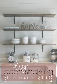 If your budget is tight, this kitchen shelving tutorial is for you. Ginger shows us how to build minimalist, farmhouse style DIY kitchen shelves for less. Diy Kitchen Shelves, Kitchen Organization, Big Kitchen, Cheap Kitchen, Kitchen Ideas, Drawer Dividers, Wine Cabinets, Diy Storage, Storage Ideas