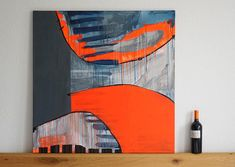 This acrylic painting in abstract-geometric design evaluates every modern space. Due to the large square format of 1x1m and its luminous orange, the image spreads a lot of energy throughout the room. Monochromatic surfaces and trailing traces of colour stand opposite each other,