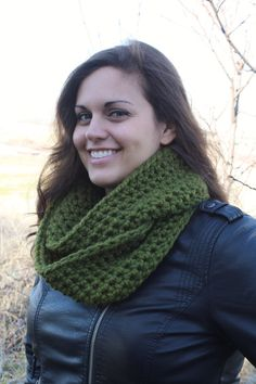 Crochet Infinity Scarf, Olive Green