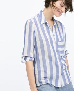 BLUE WIDE STRIPED SHIRT-View all-Tops-WOMAN | ZARA United States