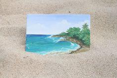 Small Acrylic Painting of Cuban Tropical Caribbean Beach by EHollingsheadArtwork on Etsy   #art #artist #paint #painting #beach #ocean #summer #tropical #paradise #cuba #caribbean #waves #sand #palmtrees #acrylic #acrylicpaint #smallpainting