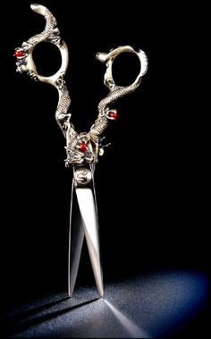 Kamisori Dragon Collection Kaos Shears. Light weight, ergonomic and perfectly balanced for fast percise and smooth cutting. $995.00 USD ..They are so beautiful I WANT THEM!