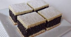 Mákos kocka 'Poppy Seed Cake' Very good old-fashioned recipe. Hungarian Desserts, Hungarian Cake, Hungarian Cuisine, Ukrainian Recipes, Croatian Recipes, Hungarian Recipes, Russian Recipes, Hungarian Food, Coconut Recipes