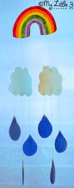 Beautiful Rainbow Mobile - free printable template. Made from upcycled plastic milk bottles