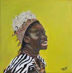 Afrikaanse zangeres olieverf op doek