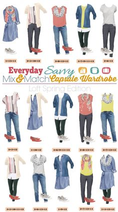 Fun new spring Loft capsule wardrobe with great mix and match outfits for spring. Includes some fun pops of color and stripes.