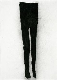 """Black Tights, charcoal on paper, 42"""" x 30"""" by Amy Sollins"""