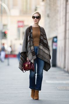 Milan Fashion Week SS17: La Fee Maraboutée patterned poncho, 7 For All Mankind crop flare jeans, camel suede booties, Saint Laurent 'High School' satchel, patterned poncho fall outfit, how to wear crop flare jeans with booties