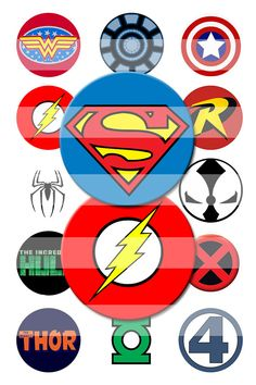 Comic Superhero Logos 1 Inch Rounds Digital Collage Image Sheet for making Bottle Cap Pendants, Hair bows, Stickers, Magnets, Jewelry and MORE