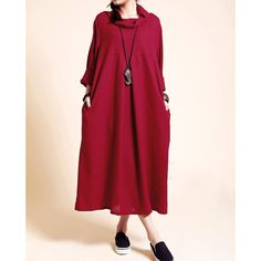 Linen Loose Fitting Long Dress Women Long Sleeved Robe Gown ($102) ❤ liked on Polyvore featuring dresses, gowns, dark red, women's clothing, long sleeve dress, long dresses, linen dress, long red evening dress y red ball gown