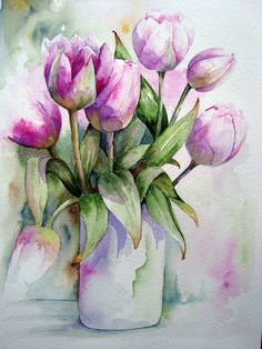 Handmade Watercolor Bouquet of Tulips in Pink- 8x10 Wall Art Watercolor Print. Description from pinterest.com. I searched for this on bing.com/images