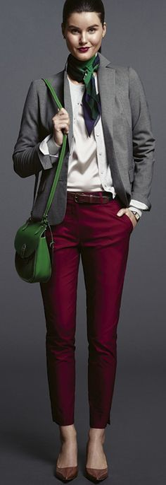 Top Inspiring Outfits For Women 2017 - Fashion Trends Mode Outfits, Office Outfits, Fall Outfits, Casual Outfits, Work Casual, Casual Chic, Casual Looks, Burgundy Pants Outfit, Maroon Outfit