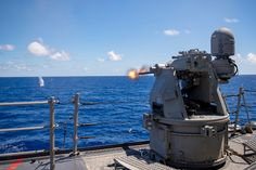 191009-N-XG173-1019 | PACIFIC OCEAN (Oct. 9, 2019) The Arlei… | Flickr Gun Turret, Mass Communication, Concept Weapons, Pacific Ocean, Guns, Military, Fire, Log Projects, Weapons Guns