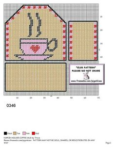 Coffee napkin holder Plastic Canvas Letters, Plastic Canvas Ornaments, Plastic Canvas Tissue Boxes, Plastic Canvas Crafts, Mug Rug Patterns, Needlepoint Patterns, Canvas Patterns, Cross Stitching, Cross Stitch Embroidery