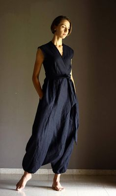 Items similar to Black Linen Jumpsuit. Loose fitted Overall suit with side pockets, Linen Romper, Petite - Plus Size, Harem Pants on Etsy Style Salopette, Wrap Style, My Style, Drop Crotch, Black Linen, Black Jumpsuit, Look Cool, Etsy, Wrap Dress